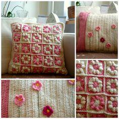 Crochet Granny Square Pillow Cover Pink Retro by MonikaDesign