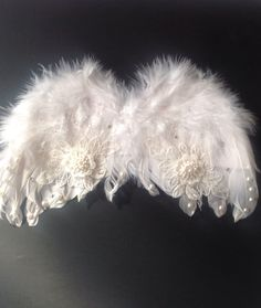 Angel Wings Ornament, Tree Topper or Infant Costume, White, Feather, Applique, Pearls, Rhinestones by TheGloryShoppe on Etsy https://www.etsy.com/listing/251584924/angel-wings-ornament-tree-topper-or