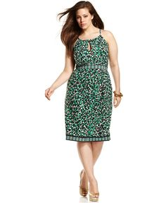 INC International Concepts Plus Size Dress, Halter Leopard-Printed - Plus Size Dresses - Plus Sizes - Macy's