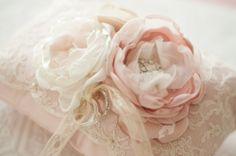 Wedding Ring Pillow, Shabby chic romantic wedding lace ring pillow, blush, dusty pink with ivory and champagne rose