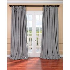 EFF Grey Velvet Blackout Extra Wide Curtain Panel 108""