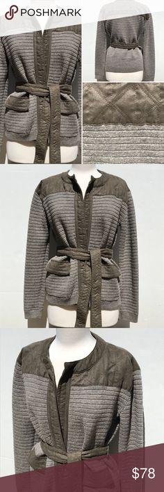 Women's BANANA REPUBLIC HERITAGE jacket Women's BANANA REPUBLIC HERITAGE tie sweater jacket. Sweater knit and quilted suede fabrication. Front pocket detail. Size medium. Please feel free to ask for measurements. Dress form measurements are bust 36 inches, waist 25 inches, hips 36 inches Banana Republic Jackets & Coats
