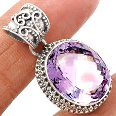 Pink Amethyst 925 Sterling Silver Pendant Jewelry PAMP164