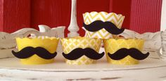 Mustache cupcake wrappers Yellow by whimzycreations on Etsy, $13.00