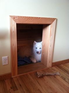 no room fora  dog crate?  Build one into your wall!