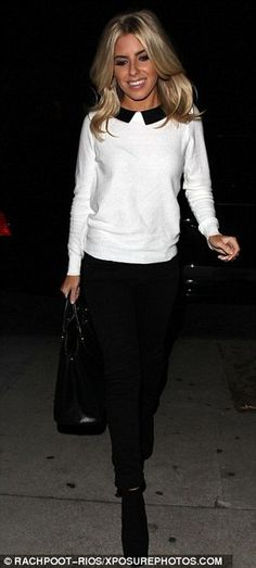 Mollie King working the mono chrome look..