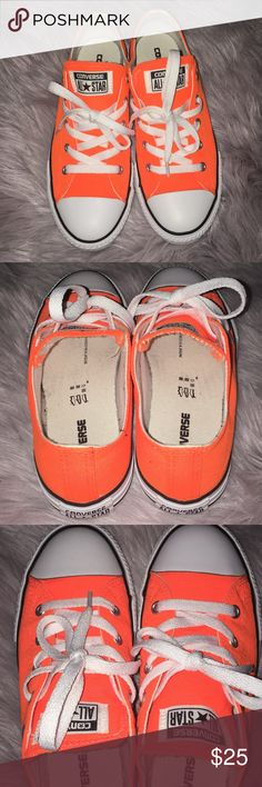 Neon Orange Converse extremely cute converse. i maybe wore them 3 times, i just don't reach for them anymore!  size 3 kids. I wear a 6  in women's, and these fit me perfectly!  submit an offer if interested 🧡 Converse Shoes Sneakers