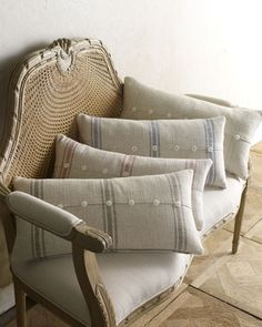 """12"""" x 24"""" Striped Pillow With Buttons - Neiman Marcus"""
