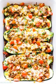 Cheesy Taco Stuffed Zucchini Boats are a great way to enjoy a low-carb taco night and get an extra serving of vegetables!