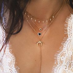 layered necklaces.