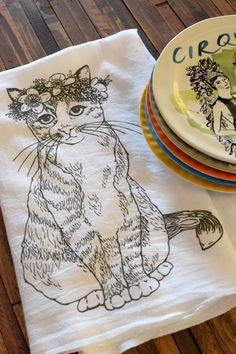 Tea Towel - Screen Printed Flour Sack Towel - Absorbent Kitchen Towel - Handmade - Cat - Kitty - Floral - Dish Towel - Natural Cotton Towel by ohlittlerabbit on Etsy https://www.etsy.com/listing/210911659/tea-towel-screen-printed-flour-sack