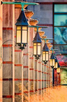 Lanterns outside the Livestock Judging Pavilion at Michigan State University, East Lansing, MI