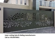 40 Awesome Front Gate Design Ideas & Tips Improve Home Security - Page 6 of 42 Home Gate Design, Steel Gate Design, Front Gate Design, Main Gate Design, Front Gates, Entry Gates, Gate Designs Modern, Grill Door Design, Sliding Gate