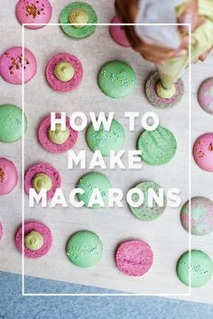 "March 20 may be the official ""Macaron Day"", but its never a bad day when you whip up a batch of these French favorites. They have been around for hundreds of years, and now is your chance to learn how to make the perfect French Macarons. Just Desserts, Delicious Desserts, Yummy Food, Think Food, Love Food, Cupcakes, Cupcake Cakes, Macaron Cake, Yummy Treats"
