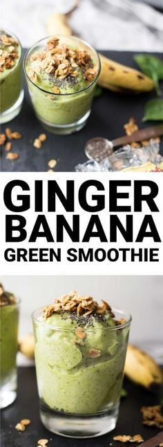 Ginger Banana Green Smoothie: This isn't your average smoothie! Packed with spicy ginger flavor, this vegan and gluten free smoothie is the perfect healthy way to start your day. || http://fooduzzi.com recipe  /bobsredmill/ #BRMNewYear #Greensmoothie