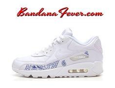 sports shoes f0b11 d985f Custom Navy Bandana Nike Air Max 90 Shoes White,  streetwear,  airmax90,   airmax, by Bandana Fever