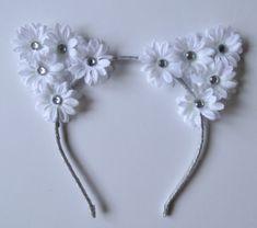 Daisy Flower cat ear headband, festival wear, ariana grande concert attire, music festival, cat ears, ultra, edc