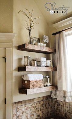 tile wood floating shelves over toilet?