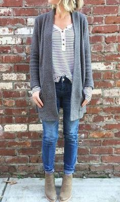 Love this entire outfit! The striped fitted shirt, with the oversized comfy cardigan also love the shoes!