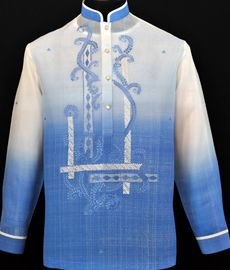 Monochromatic Blue Barong Tagalog - Barongs R us Barong Wedding, Wedding Attire, Barong Tagalog, Filipiniana Dress, Philippines Fashion, Chinese Collar, Line Shopping, Burgundy Color, Embroidery