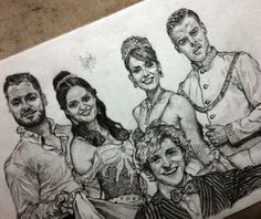 """@NurIAMARQ :Pencil drawing DWTS' Disney Night with Val C., Danica McKellar, Amy Purdy, Derek Hough, Charlie White"" Amazing!!!!!"