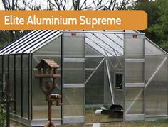 """10ft5"""" wide in multiple lengths. The Elite Supreme is for the experienced grower with bigger ideas. With two 5 blade louvres, an 8' shelf and 3' wide double doors, this greenhouse is high performance and practical."""
