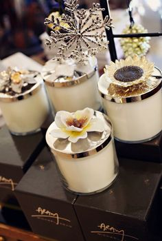 Michael Aram candles. Gorgeous containers even after the candles are long gone.