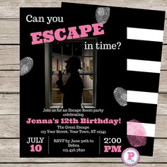 Girl's Escape Room Birthday Party Invitation Game Mystery