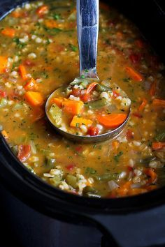 Slow Cooker Vegetable Barley Soup Recipe…An tasty way to get a couple of servings of vegetables! 164 calories and 5 Weight Watcher SmartPoints is part of Slow Cooker Vegetable Barley Soup Recipean Tasty Way To Get - slowcookervegetablebarley Vegan Soups, Vegetarian Recipes, Healthy Recipes, Easy Recipes, Tasty Soup Recipes, Recipes Dinner, Crock Pot Soup Recipes, Barley Recipes, Dinner Ideas