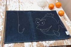 Denim 2 pieces napkin set , handmade placemats , fish , ocean , aquatic , table mat , table serviette , fun napkins , hook , fishing by SecondBirthday on Etsy