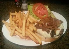 "Celebrating National Burger month with ""PHILLY BURGER"" A 10oz ground chuck burger cooked to perfection and smothered with grilled onions, mushrooms and melted Mozzarella cheese! Served with fries, pickle and your choice of our soup of the day (Cream of Broccoli) or house salad."