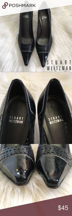 Stuart Weitzman Navy Blue Leather Die Cut Heels Stuart Weitzman Navy Blue Heels  Patent leather toe and die cut leather upper  3 inch heel  Women's Size 9.5  .  Excellent preowned condition, see pictures for full understanding of condition. Stuart Weitzman Shoes Heels