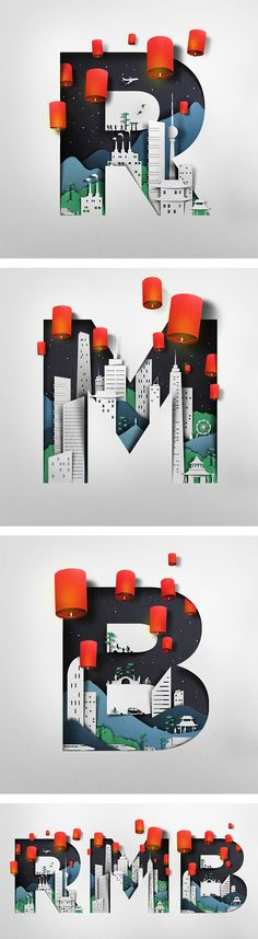 Pretty cool that these are all living wall art with awesome paper products. The red offers an interesting splash of color to the night sky cityscape.