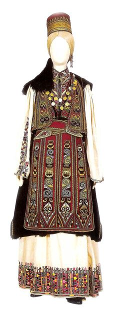 Festival costume which consists of a tunic ,pokamisso , black woolen sigouna , apron and embroidered langiolia. Greek Traditional Dress, Traditional Outfits, Greece Costume, Authentic Costumes, Festival Costumes, Greek Clothing, Folk Costume, Historical Costume, Macedonia