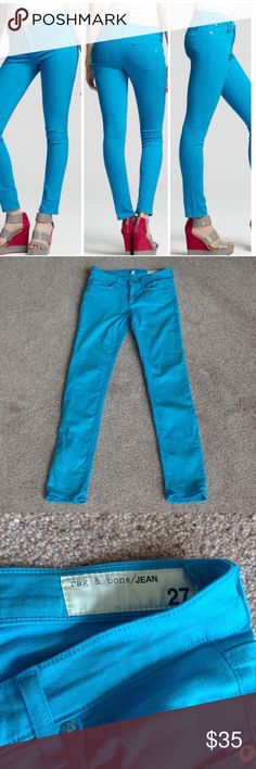 """Rag & bone turquoise skinny Worn probably just 3 times. No stains except for loose thread on one of the back pockets. Please see 4th photo. Inseam is 30"""" long. Color of the fabric is brighter than on the pictures. Please see 3rd photo on the right for the color. Thanks.                      .                               d rag & bone Pants Skinny"""