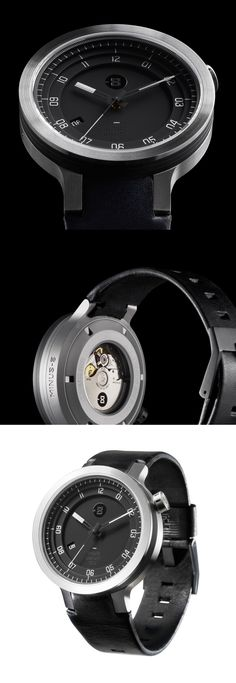 Minus 8 | Layer  leather mens-stainless steel watch - silver-black