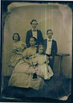 An old image of the children of King Christian IX: Pss Alexandra holding little sister Thyra. Behind little Dagmar, Frederick and William (later king George I of Greece). 1850s.  Alix, Later Queen Alexandra of UK  Dagmar, later Empress Marie Feodorovna of Russia.