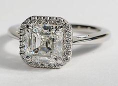 Halo Diamond Engagement Ring in Platinum #BlueNile