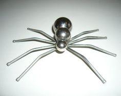 On Sale Spider Metal Sculpture Magnet, garden stake Welding Art Projects, Metal Art Projects, Metal Crafts, Blacksmith Projects, Welding Ideas, Galvanized Nails, Spider Art, Scrap Metal Art, Recycled Art