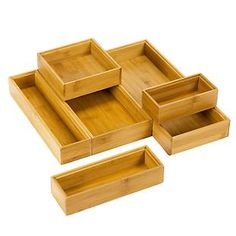 The Container Store > Stackable Bamboo Drawer Organizers