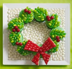 Holiday Wreath Cupcakes with Jelly Belly