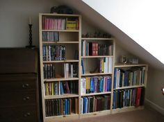 Alcove shelving - sloped ceilings can be a blessing in disguise