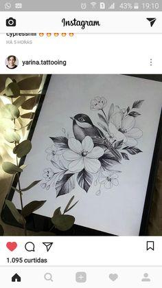 Henna Tattoo, Birds Tattoo, Owl Tattoo, Cute Tattoos, Half Sleeve Tattoo Template, Flower Drawing, Bird Drawings, Tattoo Styles, Bird And Flower Tattoo