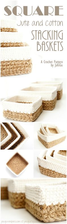 A downloadable PDF crochet pattern with instructions to make a set of three jute and cotton stacking baskets.