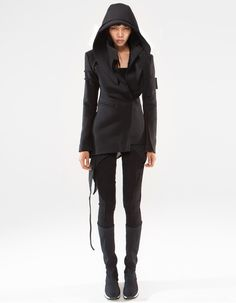 Demobaza JACKET METATRON W LIMITED EDITION re-constructed formal asymmetric jacket, closing by buttons, removable hood