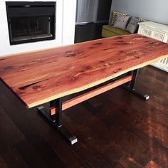 "Live edge Cedar dining table finished up.  37""x99"" top with many voids and bark inclusions make this table one of a kind.  #liveedge #design #interiordesign #modern #rustic #natural #madeinoklahoma #tulsa #table #furniture #handmade #wood #woodworking #dowoodworking"