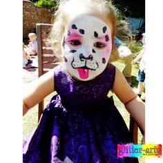 cute dog face painting for kids summer party, bedford, Bedfordshire