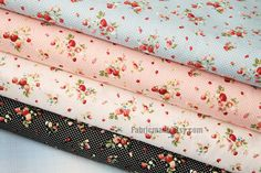 Strawberry Fabric Cotton Fabric Shabby chic Fabric Red Strawberry In Blue Pink White Black Cotton  - Fabric by Yard 1/2 yard 18X59 via Etsy