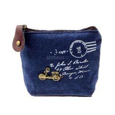 WOMENS COIN KEY HOLDER CASE SMALL CANVAS PURSE MINI BAG GIRLS ZIP WALLET Blue #Unbranded #CoinPurse
