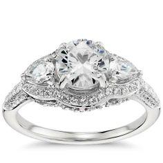Monique Lhuillier Three Stone Engagement Ring in Platinum